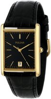 Pulsar Men's PXDA80 Gold-Tone Stainless Steel Leather Strap Watch