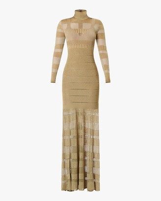 Herve Leger Metallic Sheer-Stitch Gown