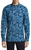 Michael Bastian Camo Printed Casual Button-Down Cotton Shirt