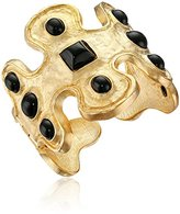 Kenneth Jay Lane Gold-Tone and Black Odd-Shape Cuff Bracelet
