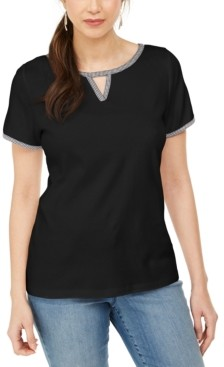 Karen Scott Contrast-Trim Keyhole Top, Created for Macy's