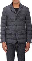 Moncler Men's Down Flannel Three-Button Sportcoat-DARK GREY