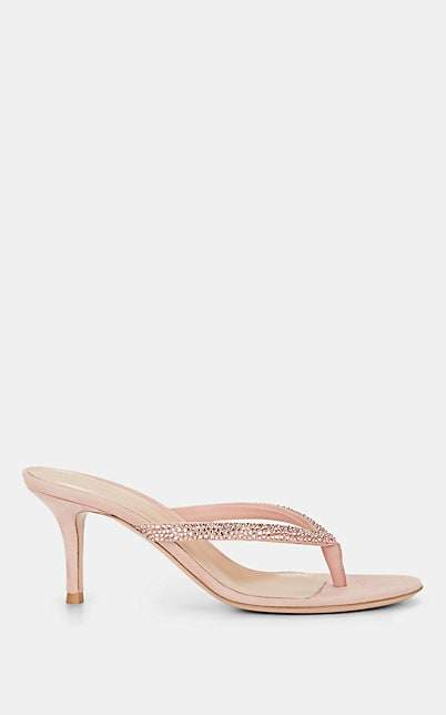 Gianvito Rossi Women's Diva Crystal-Embellished Suede Thong Sandals - Nudeflesh