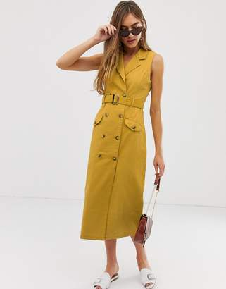 Asos Design DESIGN denim double breasted midi dress with mock horn buttons in mustard