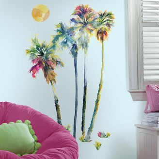 Roommates Watercolor Palm Trees Peel & Stick Giant Wall Decal