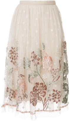Biyan Floral Embroidered Mesh Skirt