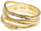 Rivka Friedman 18K Yellow Gold Clad Simulated Diamond Accent Satin Band Ring