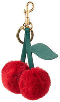 Anya Hindmarch Cherry Keychain in Leather and Rabbit Fur