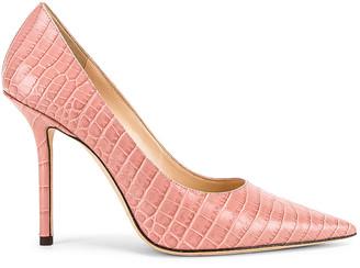 Jimmy Choo Love 100 Croc Embossed Leather Heel in Blush | FWRD