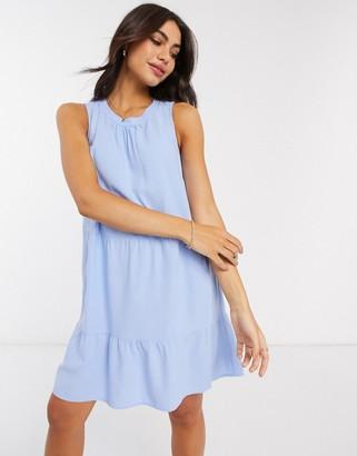 Vero Moda tiered mini smock dress in blue