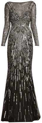 ZUHAIR MURAD Embellished Illusion Mermaid Gown