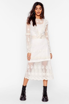 Nasty Gal Womens Lace Yourself Ruffle Midi Dress - Cream