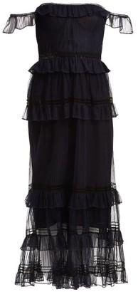 Jonathan Simkhai Strapless Ruffled Tulle Dress - Navy
