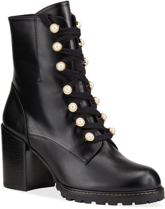 Stuart Weitzman Ivey Pearly Lace-Up Combat Booties