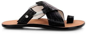Rag & Bone August Croc-Embossed Leather Slide Sandals