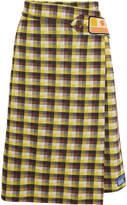 Prada Checked Jacquard-knit Wrap Skirt - Yellow