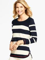 Talbots Curved-Hem Sweater- Contrast-Tipped Stripes