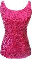 URqueen Women's Sequins Embellished Halter Clubwear Tank Top Silver