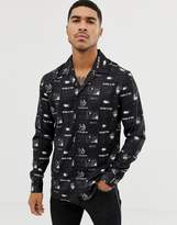 Liquor N Poker revere collar shirt with picture print in black