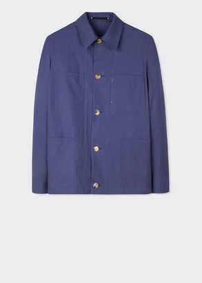 Paul Smith Men's Washed Lilac Blue Cotton Work Jacket