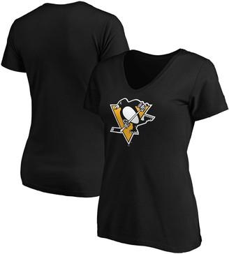 Women's Fanatics Branded Black Pittsburgh Penguins Primary Logo V-Neck T-Shirt