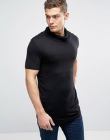 Asos Longline T-Shirt With Drape Cowl Neck In Black