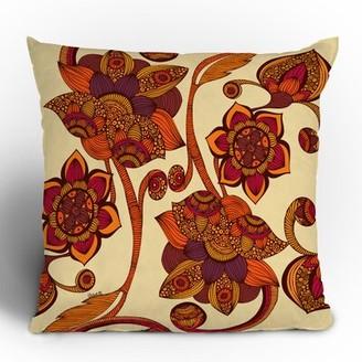 "East Urban Home Boho Flowers Throw Pillow Size: 16"" x 16"""