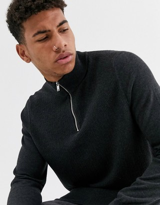 Burton Menswear zip neck jumper in charcoal-Grey