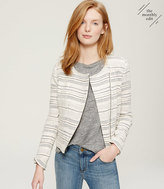 LOFT Striped Tweed Moto Jacket