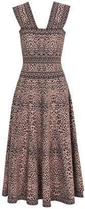 Alaia Leopard-jacquard stretch-knit midi dress