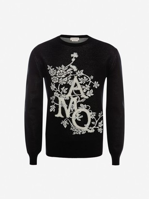Alexander McQueen Ivy Monogram Crew-Neck Sweater