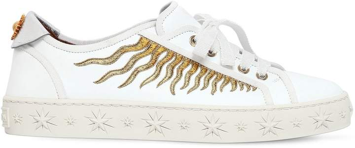Aquazzura 20mm Sun Ray Embroidery Leather Sneakers