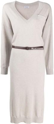 Brunello Cucinelli Belted Cashmere Dress