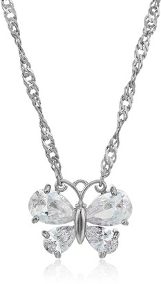 "1928 Jewelry Silver-Tone Cubic Zirconia Butterfly Clear Adjustable Pendant Necklace 16"" + 4"" Extender"