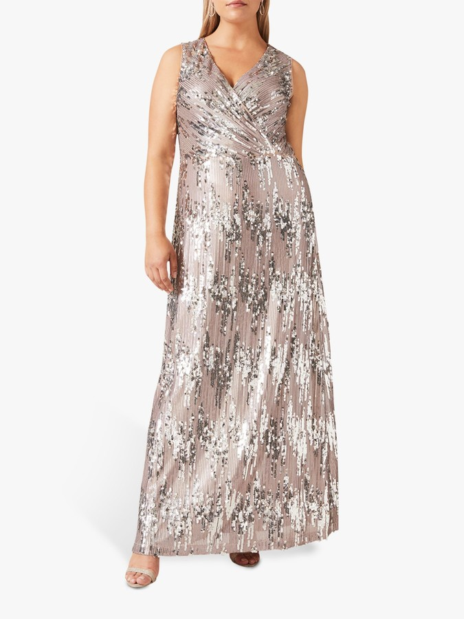 Studio 8 Daphne Sequin Wrap Maxi Dress, Silver
