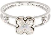 Karen Millen Art Swarovski Crystal Flower Ring, Silver