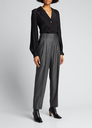 Lafayette 148 New York Therese Matte Silk Blouse