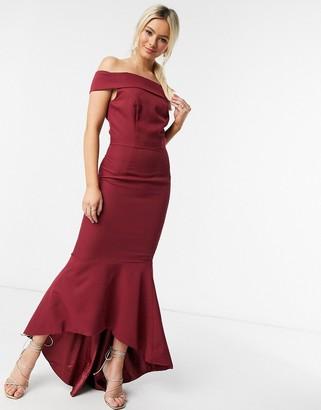Chi Chi London fishtail bardot dress in burgundy