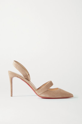 Christian Louboutin Actina 85 Suede Slingback Pumps - Neutral