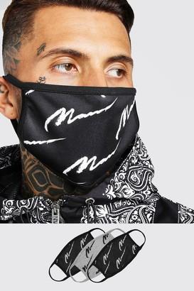 boohoo Mens Black 3 Pack Multi MAN Script Masks, Black