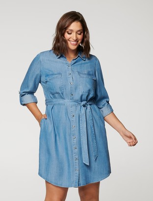 Forever New Inez Curve Utility Shirt Dress - Chambray - 16
