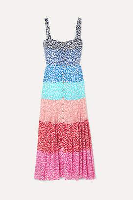 Saloni Karen Pleated Printed Silk Crepe De Chine Dress - Pink