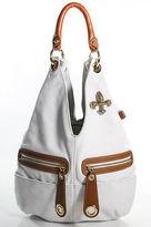 Eliza Gray White Brown Leather Multi Pocket Hobo Handbag