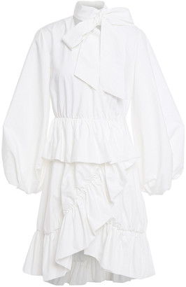 GOEN.J Pussy-bow Ruffled Poplin Mini Wrap Dress