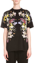 Givenchy Short-Sleeve Floral-Print Tee, Black