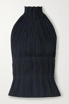 Dion Lee Open-back Plisse-crepe Halterneck Top - Midnight blue