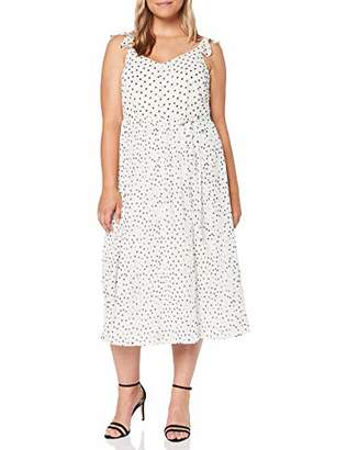 Dorothy Perkins Women's Pleated MIDI Dress SPOT with Built UP Straps Party, White (Ivory 30), (Size:)