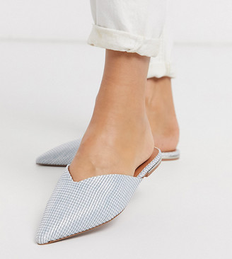 Asos DESIGN Wide Fit Lou pointed mules in blue weave