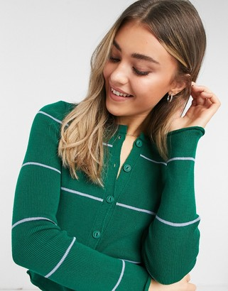 ASOS DESIGN ribbed crew neck cardigan with frill edge in green stripe