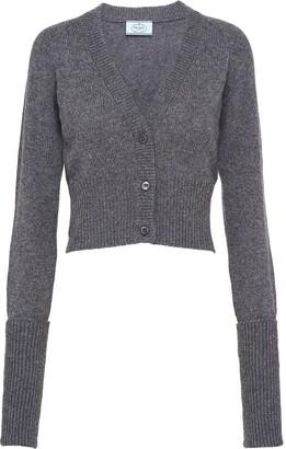 Prada Cropped Rib-Knit Cardigan